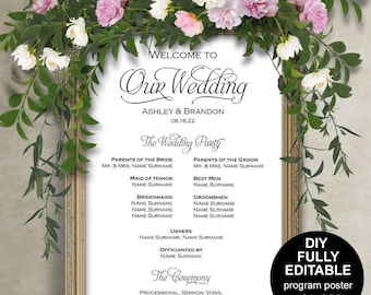 Wedding program sign template, Wedding program posterWedding ceremony poster, Wedding poster, DIY, Printable, Template, Instantly download,