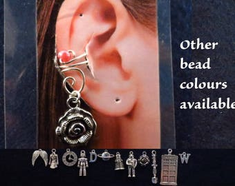 Doctor Who ear cuff with interchangeable charm/s and bead of your choice.