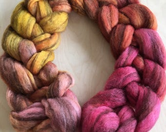 Rosehips 3.8oz Handpainted Striped BFL top for spinning OOAK