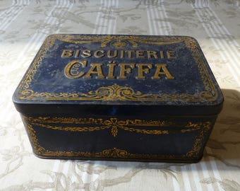 Antique French Advertising Biscuiterie Caiffa Advertising Tin - French Biscuit Box - Cookie Tin -  French Kitchen  Kitchen Display