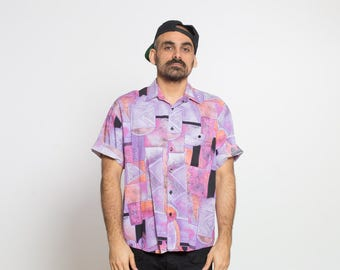 VTG 80's Abstract Pattern Pink and Purple Short Sleeve Button-Down Shirt