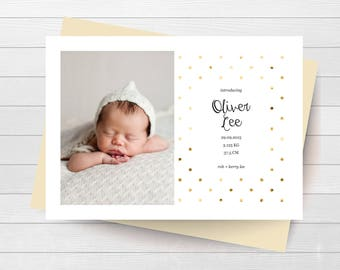Birth Announcement - Newborn Arrival - Baby Announcement - Birth Stats - Gold - Polka Dots - Photo Card - Personalized Card - Thank You Card