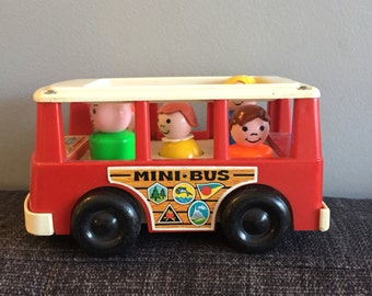 Vintage Fisher Price mini bus full of little people