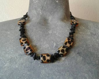 Hand Crafted Leopard and Black Beaded Necklace