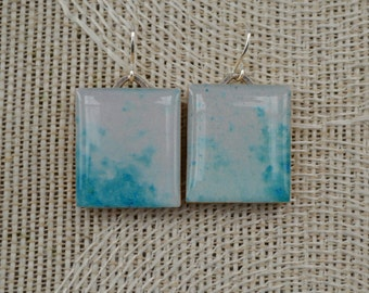 Repurposed Scrabble Tile Earrings - Aqua/White