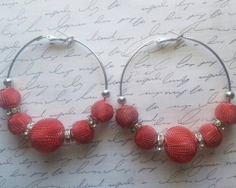 Red Basketball Wives Earrings Gifts for Her Statement Earrings As Seen On TV Large Silver Hoop Earrings
