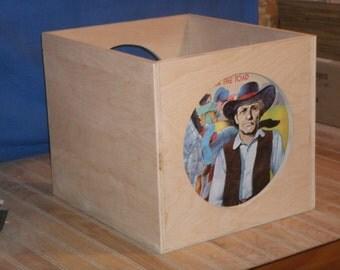 L.P. crate, wood crate,wooden, crate-vinyl record crate,vinyl storage crate, record storage