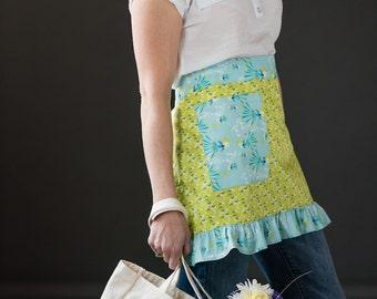 Feminine Apron ~ Ladies Apron ~ Ladies Half Apron ~ Cooking Apron ~ Work Apron ~Sky Blue Fabric ~ Lime Green Fabric ~ Geometric Girly Fabric