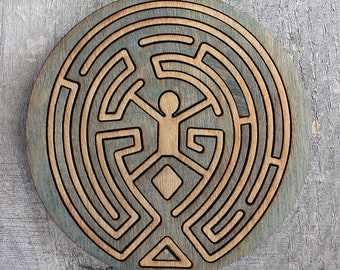 Westworld Wood Maze Coaster | Rustic/Vintage | Hand Stained and Glued | Comic Book Gift |