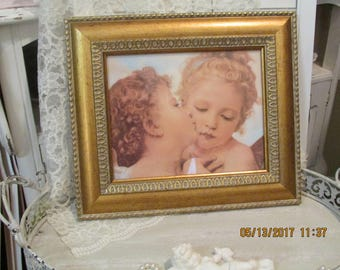 Shabby Chic French Vintage Cherub Print in Gold Frame
