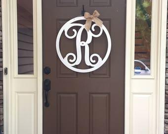 PAINTED Circle Initial Door Hanger - Monogram Door Hanger - Monogram Door Decor - Door Wreath - Housewarming Gift - Couples Gift