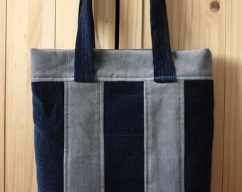 Corduroy Patchwork Tote Bag