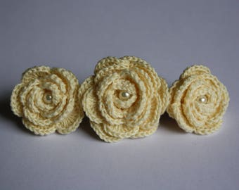 Crochet Rose Hair Clip Hair Barrette