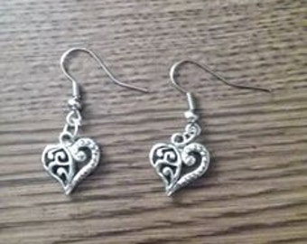 Heart Earrings with stainless steel french hooks