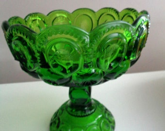 """L.E Smith Antique Green Glass Moon And Stars Large Dish 6-3/4"""" Tall x 6-1/4"""" Wide Free Shipping"""