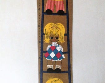 Swedish retro vintage 1960s line M.Buhler design wall hanging with motives of three children growing up