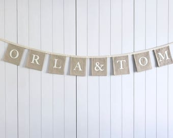 Personalised Name Wedding Bunting - Engagement Party Banner - Wedding Reception Bunting - Personalised Wedding Garland - Wedding Decorations