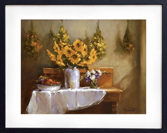 Oil Painting, Still life painting, Print, Art print, Sunflowers, Wall decor, Giclee, Yellow flowers, Gift for her, Girlfriend gift, Maine
