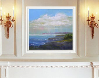 Large landscape painting of sea and clouds, Seascape giclee, Print, Ocean painting, Beach decor,  Art Print, Wall decor, Oil painting