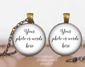 Custom Quote Your Words and Photo Double Sided Personalized  Pendant Double Pendant Two Sided Necklace or Key Ring