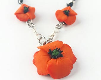 SALE Orange Poppy Necklace