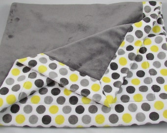 "Gray & Yellow Dots Baby Blanket - Minky Baby Blanket - Stroller Blanket - Nursery Blanket - 33"" x 42"" Baby Blanket"