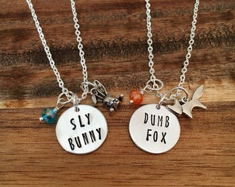 Friendship necklace-Zootopia inspired friendsip necklace-Sly Fox-Dumb Bunny-Sly Bunny- Dumb Fox-best friend jewelry-BFF