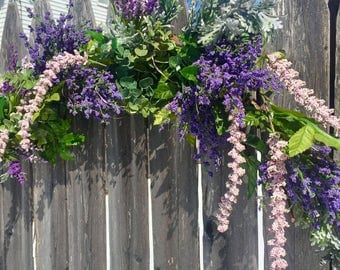 "22"" Pre-lit Lavender Wreath w Battery Lights Rustic Spring Wreath Purple Wreath and Pink Grapevine Wreath Spring Wreath Easter Wreath"