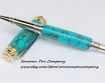 Majestic Jr. Turquoise with Gold Lace Roller Ball pen