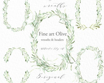 Olives wreath and header .watercolor clipart hand drawn. Romantic wedding, sage green, tender green branches, wedding invitation.