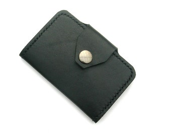 Black leather Oyster card holder. Black leather card holder. Leather card holder. Leather rail ticket holder. Leather metro card holder