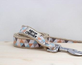 Pastel hemp dog leash, Springy hemp dog leash, Geometric hemp dog leash
