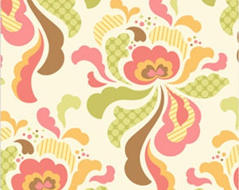 Half Yard - Groovy Brown - Heather Bailey, Freshcut - Quilting Cotton Fabric, Melon, Peach, brown, Green, Ivory, aqua,