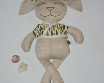 Doudou rabbit flax bio of Normandy and Cotton Jersey bio reasons leaves