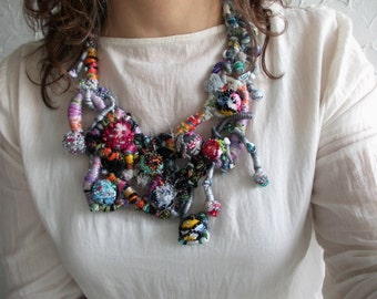 Party season...free form asymmetric chunky funny fiber art statement bib necklace with colorful beaded fabric balls, casual necklace.