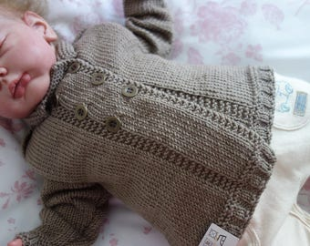 Hand knitted in Pure 100% Merino wool boy's double breasted sweater to fit approx 3-6 months in brown