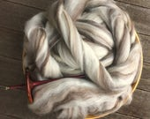 Mixed Natural and Black Blue Faced Leicester Roving Top Spinning Fiber - 4 ounces