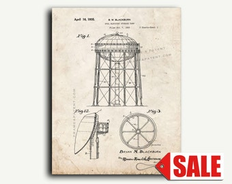 Patent Print - Water Tower Patent Wall Art Poster