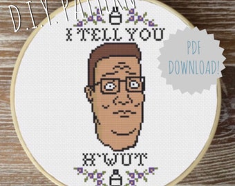 DIY Hank Hill - King of the Hill cross stitch PATTERN. Counted cross stitch pattern. Needlepoint pattern.