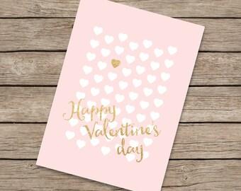 5x7 valentine card PRINTABLE, pink gold valentine card for valentine kids valentine gift, classroom valentine card her,happy valentines day