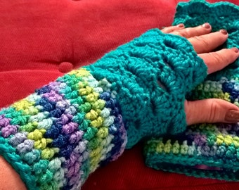 Bright Colored Crocheted FINGER-LESS GLOVES, Finger less gloves just for you!