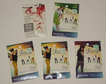 Fabric Dye Lot 5 Packs Denim Poly Jeans Yellow Chestnut Green Red Jacquard
