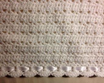 White Crocheted Baby Afghan White Satin Ribbon. Baby Shower or Christening Gift