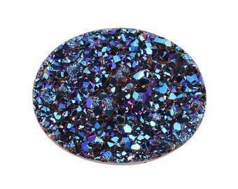 Blue Drusy Quartz Oval Cabochon Loose Gemstone 1A Quality 9x7mm TGW 1.20 cts.