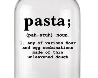 Pasta Label+Kitchen Label+Pasta Decal+Pasta Sticker+Kitchen Stickers+Kitchen Organization+Definition Decal+Definition Label+Vinyl Decal+Food