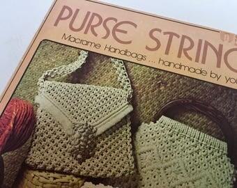 Purse Macrame Pattern Vintage Hippie 1960s 1970s Handmade Macrame Purse Pattern Booklet Handbags Knotting 1970s Vintage 7119