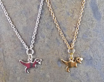 Tiny T-REX Dinosaur Pendant // Lizard Reptile Jungle Safari // Gold or Silver // Tiny Animal Pet Acessories Necklace // USA FREE Shipping
