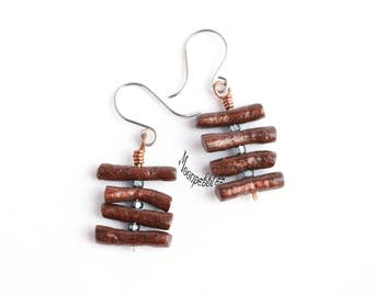 Pagoda polymer clay dangle earrings