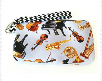 READY TO SHIP, Orchestra Instruments Zipper Pouch, Coin Purse, Gift for her, Music teacher gift