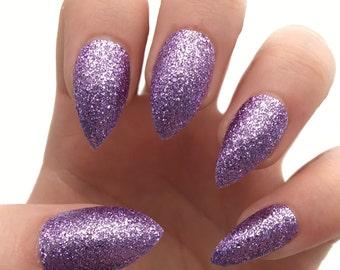 Fake nails, press on nails, purple nails, glitter nails, stiletto nails